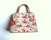 Vintage Tapestry Handbag Red Yellow Flowers - CakeNumber9