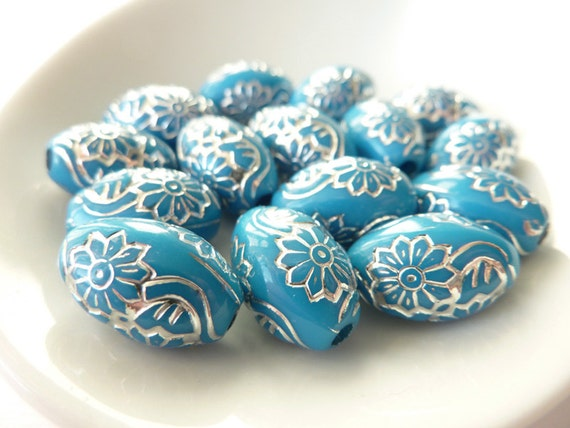 Turquoise Silver Beads, Etched Acrylic Beads, 15mm Oval Beads
