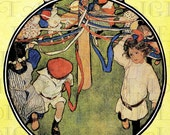 Fab Maypole Children Dancers. MAY DAY Vintage Illustration. DIGITAL  Download. Vintage May Day Print. Jessie Wilcox Smith - DandDDigitalDelights