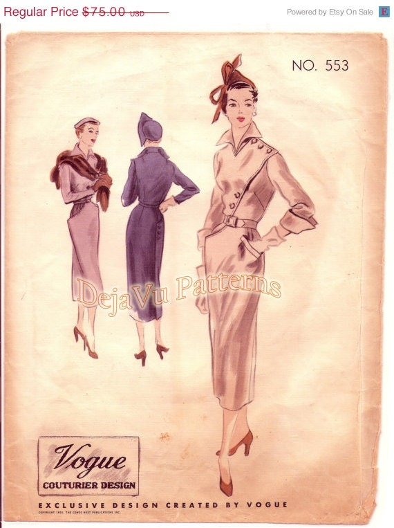 CLEARANCE SALE Vogue 553 Vintage 1950s Asymmetrical Bodice Sheath Dress Sewing Pattern Sz 16