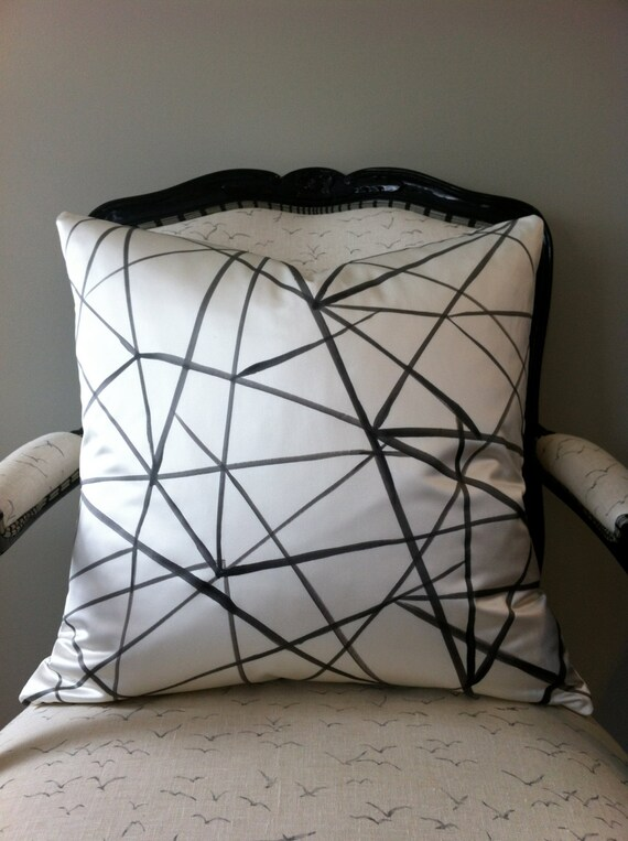 Intertwine - hand painted silk black on white II - as mentioned in Style at Home Magazine
