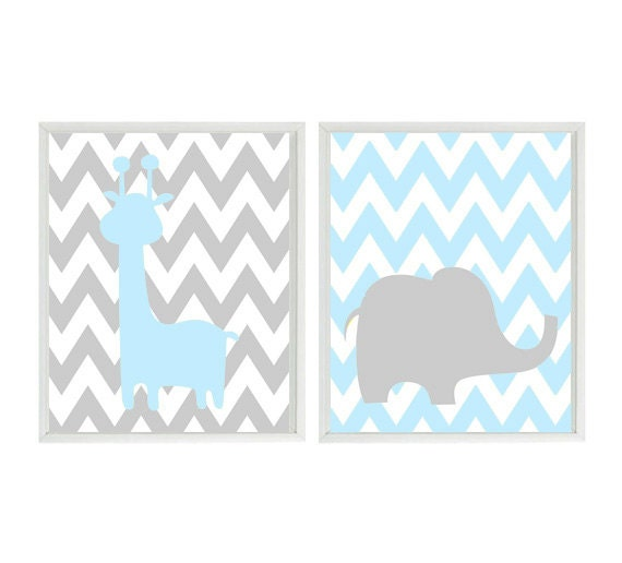 Baby Boy Nursery Art Blue Gray Elephant Giraffe by RizzleandRugee
