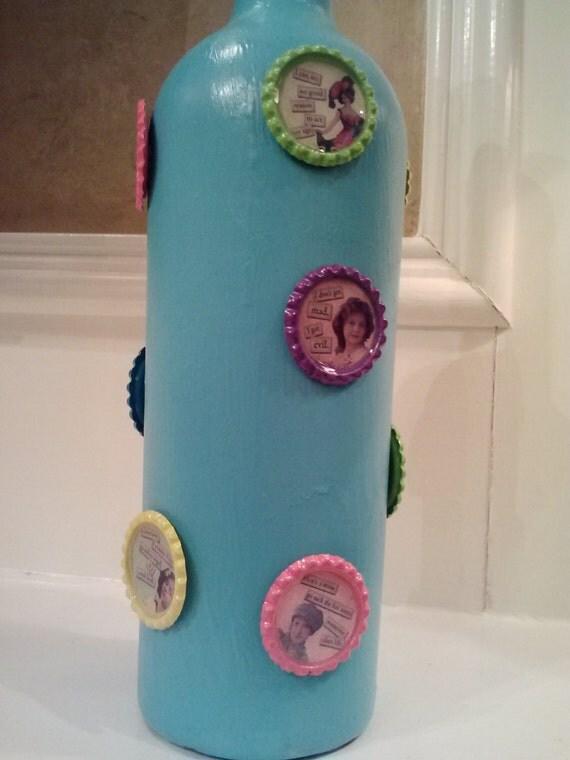 Turquoise Bottle Cap Quotes Handpainted Wine Bottle Vase Home Decor Party Decoration