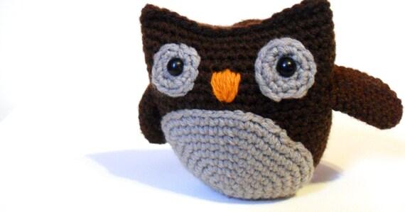Brown Stuffed Owl, Soft Toys for Babies, Owl Baby Shower, Nursery Animal, Amigurumi Owl, Owl Stuffie, Kids Toy, Plush Owl - Archie the Owl