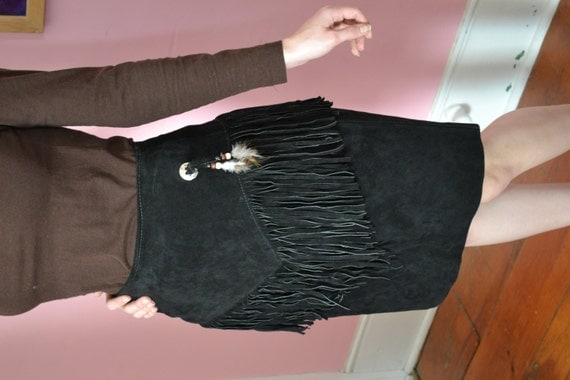 Black Leather suede Fringe Pencil Skirt made in USA size 7 high waist