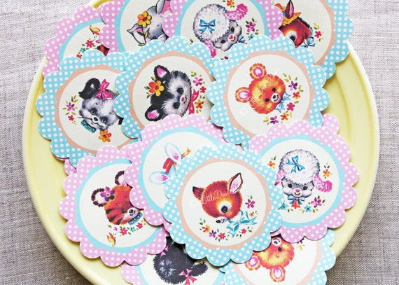 Kawaii Baby Animal Stickers- 24 Vintage Style Scalloped Animal Stickers