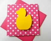 Ducky Note card, Thank you card, 3x3, gift card, gift tag, baby shower gift, Rubber duckie, Polka dots, Baby, 3D