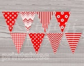 Red Printable Banner Pennant Chevron Gingham Flower Polka Dot Stripes Pattern PDF file Instant Download - ArigigiPixel