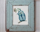 "Magical Blue Owl Bird with a flower 8.5""x11"" - byJunCo"