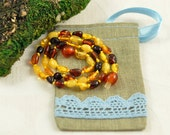 Baltic Amber Baby teething necklace MIX colors, polished, olive beads in Lovely Linen gift bag