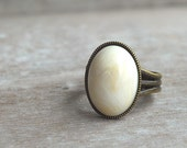 "Winter white """" Adjustable Ring - picturing"