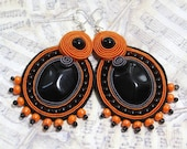 Soutache Jewelry, Boho Earrings, Soutache Earrings, Orange Earrings, Beaded Soutache Earrings, Orange Earrings, Black Earrings - Herinia