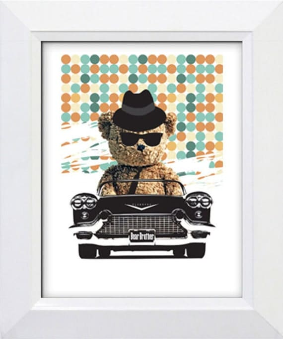Nursery art print-Teddy Bear in the car as a Blues Brother,A4, wall art for children, kids room decor, illustration
