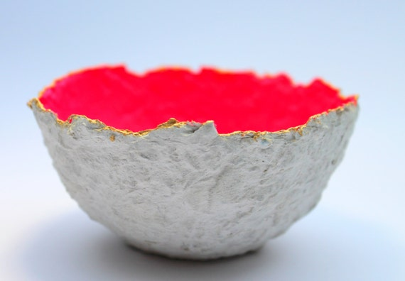 Papier mache bowl with gold leaf