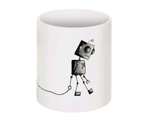 Robot Coffee Mug - Broken Heart Bot by Lolobot Designs