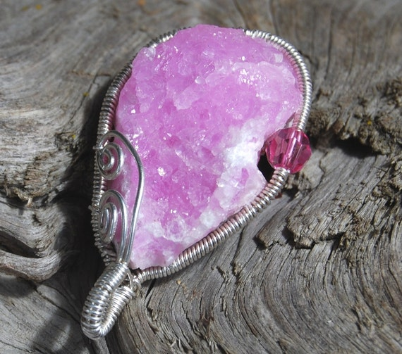 Pink Druzy Pendant Recycled Sterling Silver Wire Wrapped Unusual Freeform Cobation Calcite