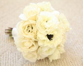 Real Touch Wedding Bouquet. Real Touch Bridal Bouquet w/ Roses Ranunculus Peony Bridal Bouquet in Cream White Ivory