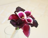 Real Touch Calla Lilies Wedding Bouquet. Burgundy Eggplant Bordeaux Purple Calla Lilies Bridal Bouquet Bridesmaid Bouquet. Ready to Ship.