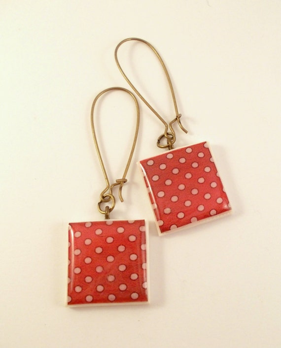 Polymer Clay Dangle Earrings, Resin Polka Dots Earrings