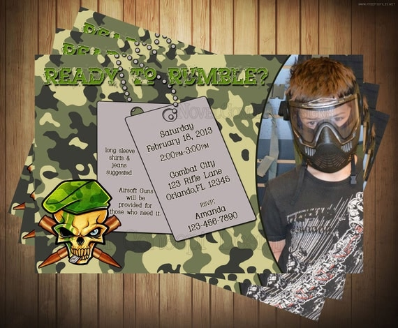 novel concept designs  airsoft   paintball invitation