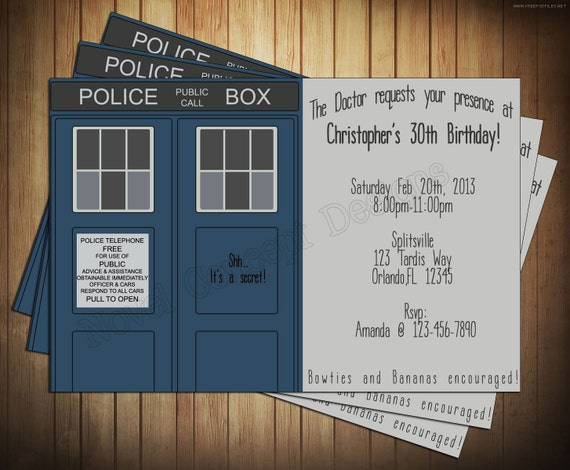 Novel Concept Designs: Doctor Who Birthday Invitations ...
