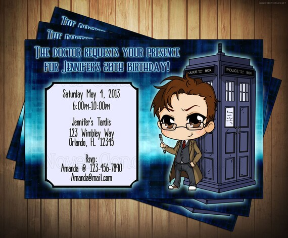 Novel Concept Designs Doctor Who Birthday Invitations Thank You – Dr Who Birthday Card
