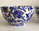Burleigh ARDEN blue and white china sugar bowl 12 cms diameter large size - 20thCenturyStuff