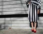 Vintage 1980s Robin Joy Striped, Tea-Length, Black and White Dress - OTRVintageClothing