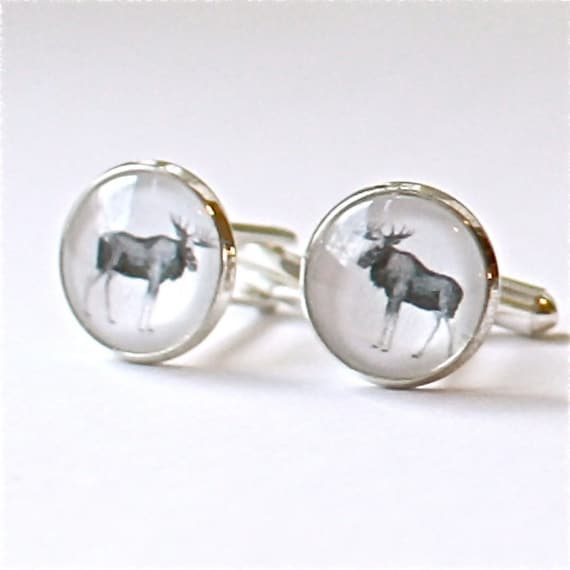 mens cufflinks, norwegian moose, modern design