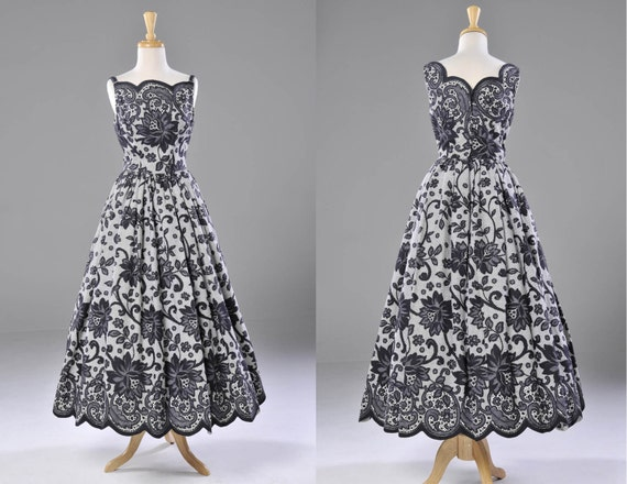 Vintage lace full skirt gown in black & white with scalloped edging