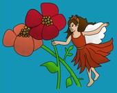 "Digital Fairy Artwork, 10"" x 8"", Girls Bedroom, Fairies, uk seller"