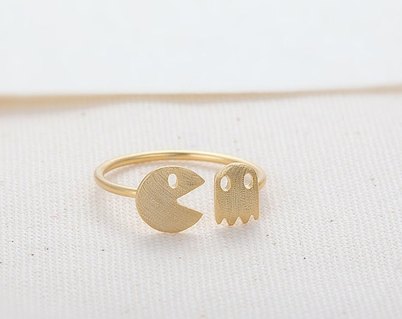 Pac-Man and Ghost Ring - Gold // R013-GD // Pacman rings,unique rings,adjustable rings,stretch rings,cute ring,fun rings