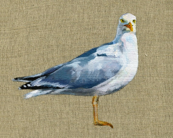 Seagull Ireland - Print of Original Painting on Irish Linen. 8x10 inches Art Print Bird Art Ireland Sea Bird