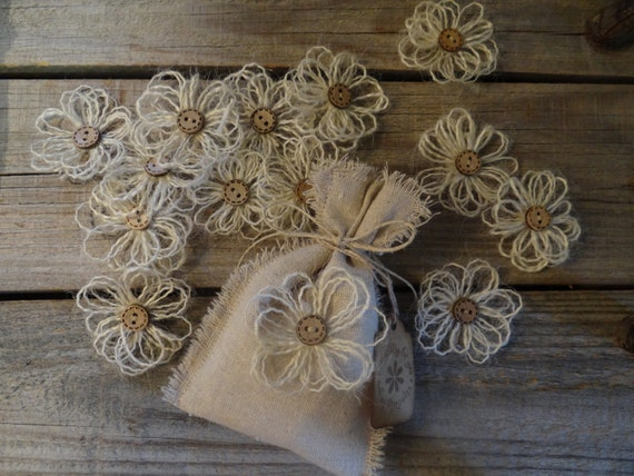 Wedding Favor Bags Shabby Chic Country Wedding Bridal Shower Gifts Handmade Burlap Flowers
