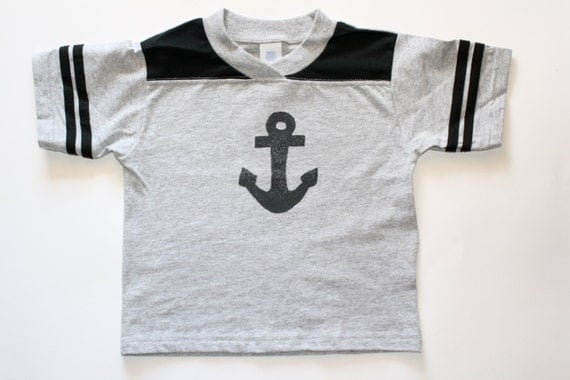 Nautical Anchor Rugged Football, Baseball Tshirt Top for baby Toddler Children Big Kids Boys Girls, Choose Blue, Pink, Red or Black as shown