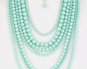 Mint Layered Bead Necklace Set