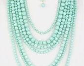Mint Layered Bead Necklace Set
