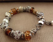 Famous Maker Inspired Glass Bead Bracelet in Browns