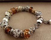 Famous Maker Inspired Glass Bead Bracelet in Browns