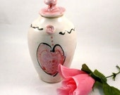 Romantic decorative art jar with pink heart - art vessel valentine home decor