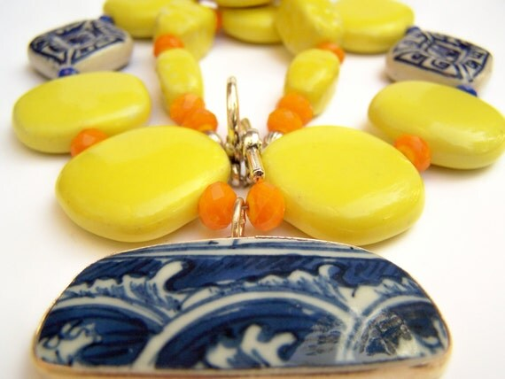 Yellow Statement Necklace with Pottery Shard Pendant, Blue Pattern China Shard, Yellow Ceramic Beads with Blue & White Porcelain - Talavera