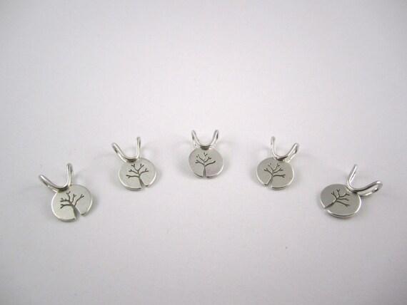 Tiny Silver Tree Bridesmaid Pendants by Beth Millner