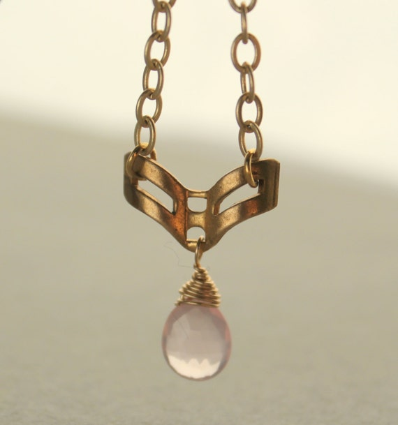Pink Blush Necklace, Rose Quartz Pendant Necklace, Geometric, Gold Chevron, 14k Gold Fill, Gold Chain, Pale Pink, Vintage Pendant