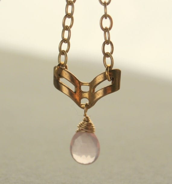 Pink Blush Necklace, Rose Quartz Pendant Necklace, Geometric, Gold Chevron, 14k Gold Fill, Gold Chain, Pale Pink, Vintage Pendant