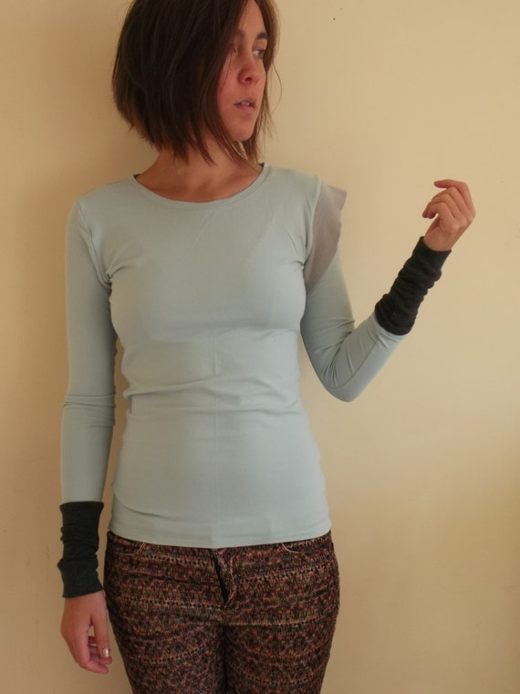 XS upcycled top long sleeved in pale blue and grey - extrasmall