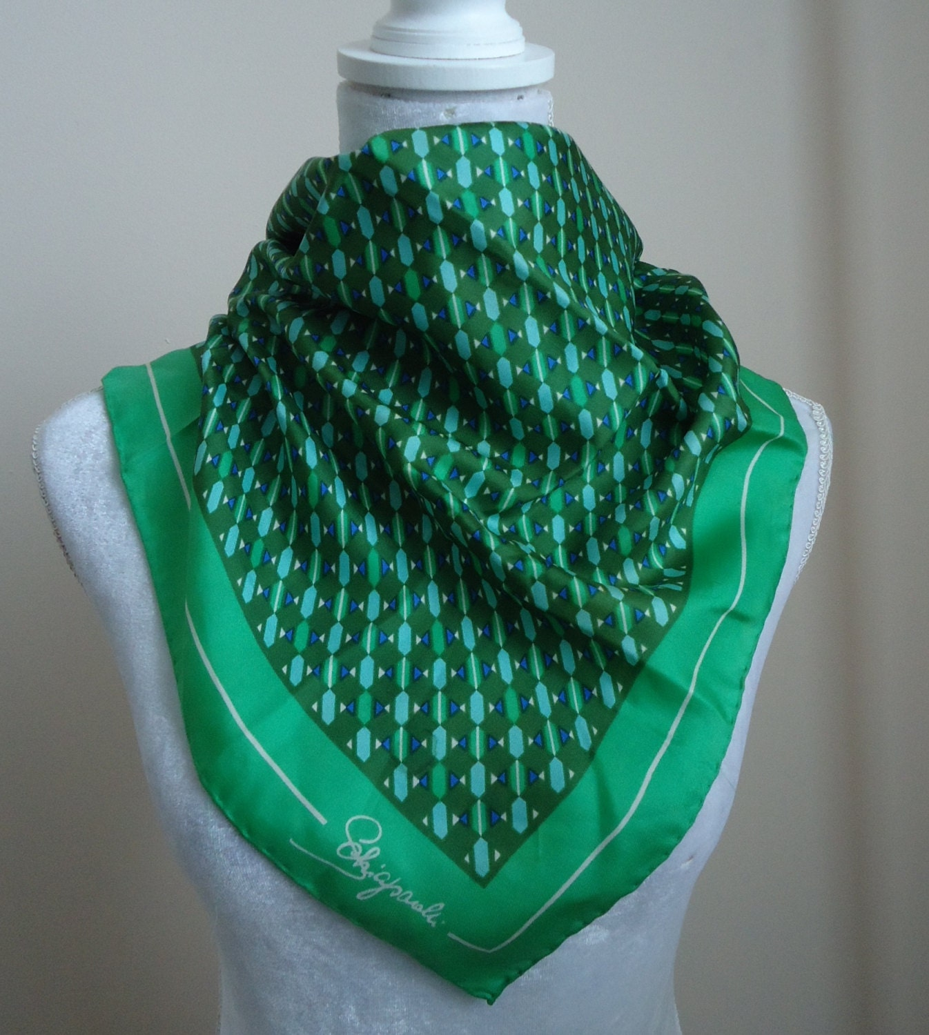 Vintage 1960s Shiaparelli Green Silk Scarf by MadMakCloset on Etsy Washing Vintage Silk Scarves
