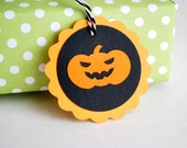ON SALE 6 Halloween Scary Pumpkin TAGS, Halloween Treat Bag Tags, Trick or Treat Labels   A688