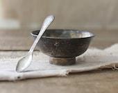 v i n t a g e  silver plate salt dip and spoon - Harmonicajane