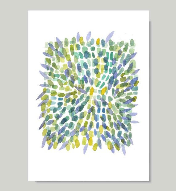 Explosion Spring print from original watercolor painting - reproduction green blue yellow petals