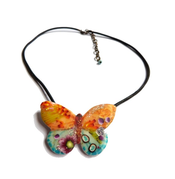 Butterfly necklace - multicolored polymer clay pendant - Turquoise blue orange yellow purple green BUTTERFLY pendant, with flowers